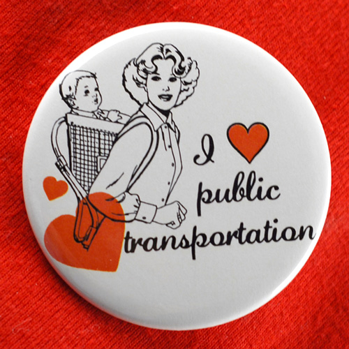Image for I Heart/Love Public Transportation Button
